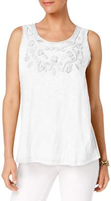 Style&Co. Style & Co. Soutache-Trimmed Cotton Tank Top
