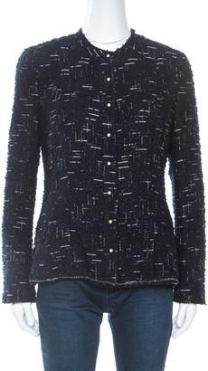 Chanel Navy Blue Metallic Tweed Pearl Embellished Jacket L