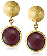 "Gurhan Lentil"" Gold Round Cabochon Ruby Drop Earrings"