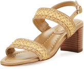 Eric Javits Stubra Straw & Leather Slingback Sandal, Natural/Toffee