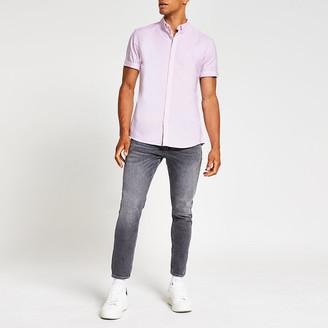 River Island Pink slim fit short sleeve oxford shirt