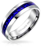 Bling Jewelry Simulated Sapphire Crystal September Birthstone Eternity Ring Steel Free Engraving