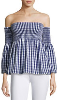 Milly Jodi Off-the-Shoulder Smocked Gingham Top, Navy