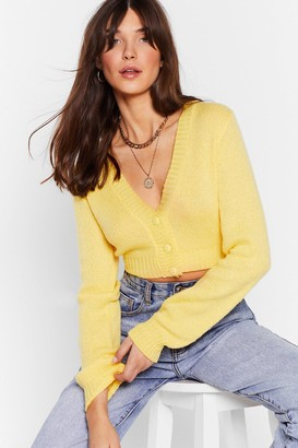 Nasty Gal Womens Button Cropped Cardigan - Yellow - S
