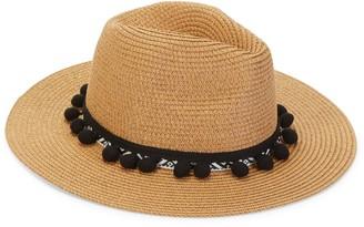 MARCUS ADLER Pompom Trim Panama Hat