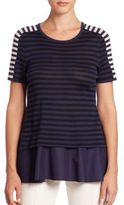 Akris Punto Striped Wool Peplum Top