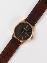 Nixon Sentry Leather 42mm Analogue Watch in Rose Gold / Gunmetal / Brown