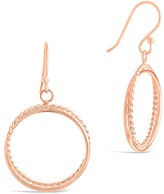 Sterling Forever 14K Rose Gold Plated Sterling Silver Rope Textured Double Hoop Drop Earrings
