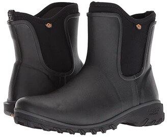 Bogs Sauvie Solid Slip-On Boot (Black) Women's Rain Boots