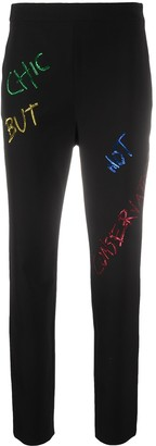 Boutique Moschino Sequin Slogan Cropped Trousers