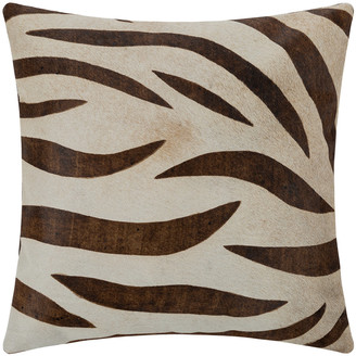 Luxe - Large Zebra Print Cowhide Cushion - 45x45cm - Natural/Beige