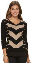 Dana Buchman Petite Mitered Stripe Mock-Layer Sweater