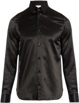 Saint Laurent Point-collar silk-satin shirt