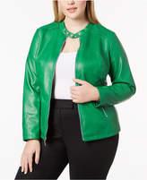Alfani Plus Size Faux-Leather Moto Jacket, Created for Macy's