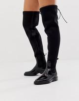 Asos Design DESIGN Glam over the knee rain boots in black