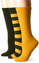 Muk Luks Women's Game Day Sport Crew Socks (Pack of Three Pairs)