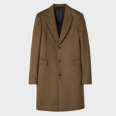 Paul Smith Men's Khaki Wool And Cashmere-Blend Peak-Lapel Epsom Coat