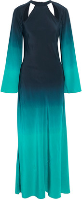 Rixo Serena Tie-back Cutout Degrade Silk-crepe Maxi Dress
