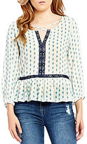 So It Is Long-Sleeve Surplice Crisscross Split V-Neck Peplum Hem Printed Peasant Top