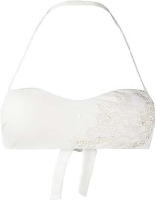 La Perla Embroidered Tulle Bandeau Bikini Top