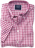 Charles Tyrwhitt Slim Fit Button-Down Non-Iron Poplin Short Sleeve Red Gingham Cotton Casual Shirt Single Cuff Size Large