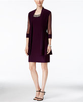 R & M Richards Petite Embellished Dress and Illusion Duster Jacket