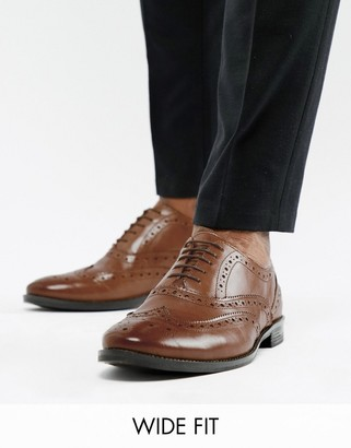 ASOS DESIGN Wide Fit oxford brogue shoes in tan leather