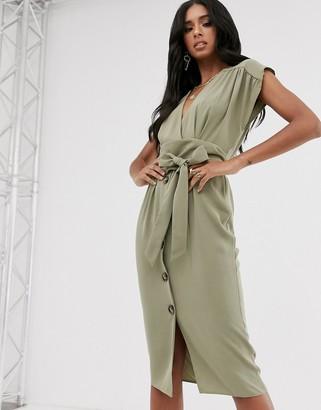 Asos Design DESIGN obi belt button through sleeveless midi dress-Green