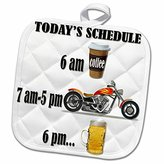 3dRose RinaPiro - Motorcycles Quotes - Coffee, motorcycle, beer. Funny motorcycles saying. - 8x8 Potholder (phl_220705_1)