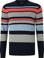 Gant Multi Stripe Cotton Jumper, Navy Multi