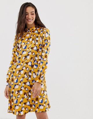 Vila smudge print midi dress