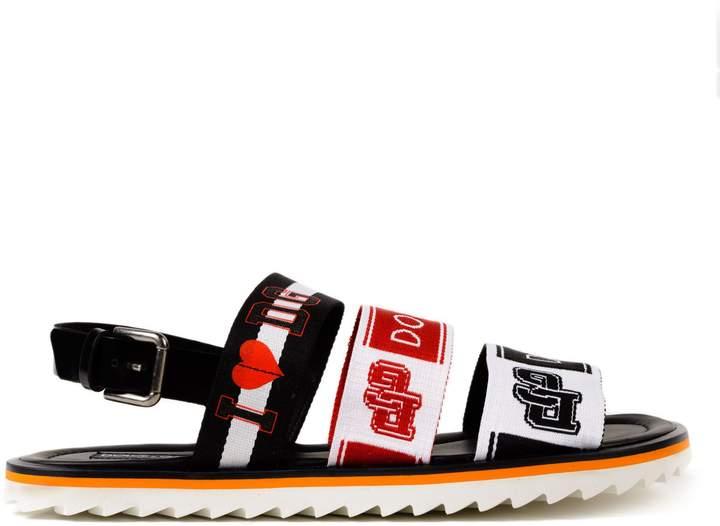 Dolce & Gabbana Sandal Calf Shiny Logo Printed