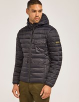 Barbour international ouston hooded quilted jacket black