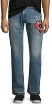 Gucci Denim Straight Pants w/Embroidery, Blue Stone Bleach Wash
