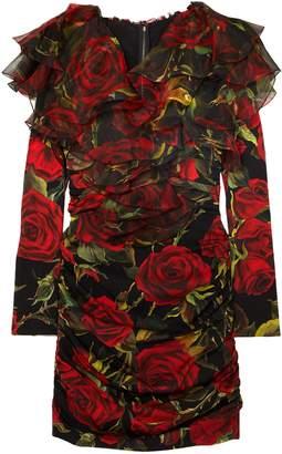 Dolce & Gabbana Organza-trimmed Floral-print Silk-blend Charmeuse Mini Dress