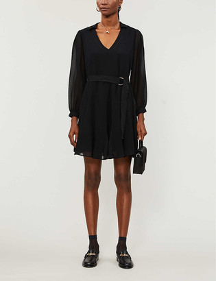 Claudie Pierlot Ripoline belted woven midi dress