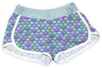 Urban Smalls Girls' Casual Shorts Multi - Green & Purple 'Mermaid Scales' Shorts - Toddler & Girls