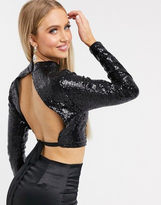 I SAW IT FIRST sequin open back crop top in black