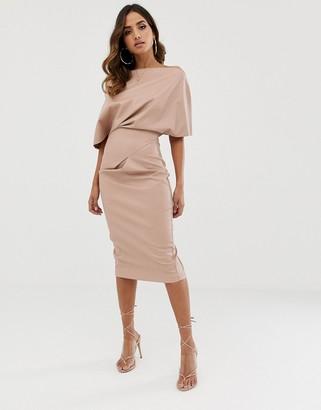 Asos Design DESIGN PU drape shoulder midi pencil dress-Pink