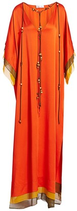Oscar de la Renta Beaded Tassel Colorblock V-Neck Caftan