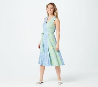 Isaac Mizrahi Live! Petite Ditsy Floral Contrast Knit Wrap Dress