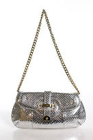 Rafe New York Silver Leather Chain Detail Shoulder Handbag Size Small