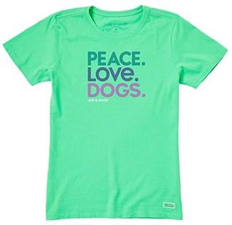 Life is Good Peace Love Dogs Crushertm Tee (Spearmint Green) Women's T Shirt