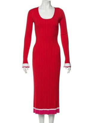 Prabal Gurung Scoop Neck Midi Length Dress w/ Tags Red