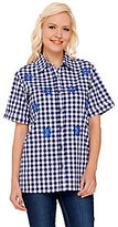 As Is Quacker Factory Embroidered Gingham Button Front Shirt