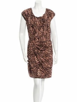 Thakoon Printed Draped Dress Brown