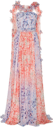 Prabal Gurung Ruffled Printed Silk-Chiffon Gown