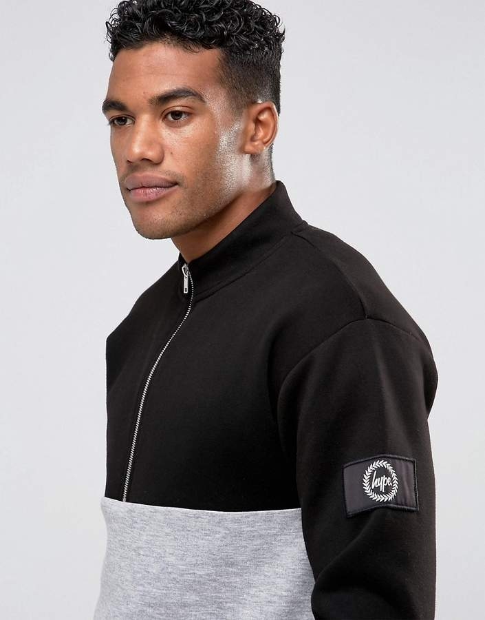 Hype Sweatshirt In Black With Half Zip Funnel Neck