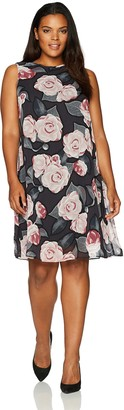 Taylor Dresses Women's Plus Size Frosted Rose Swing A-line Dress