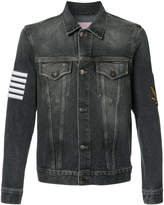 Palm Angels striped print denim jacket